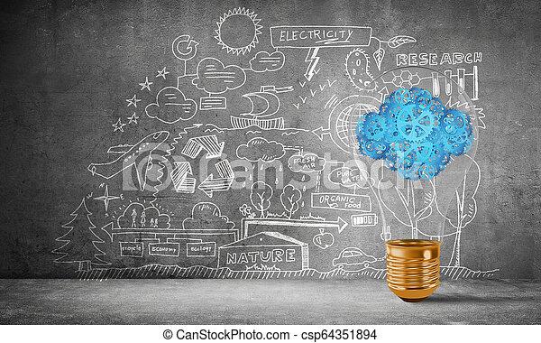 Eco innovaciones concepto por medio de bombilla. - csp64351894
