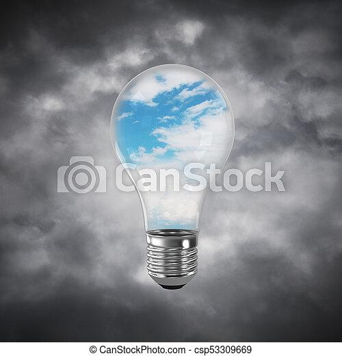 Eco innovaciones concepto por medio de bombilla. - csp53309669