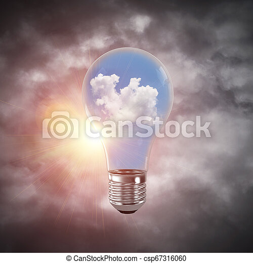Eco innovaciones concepto por medio de bombilla. - csp67316060