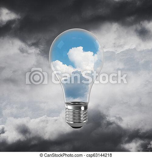 Eco innovaciones concepto por medio de bombilla. - csp63144218