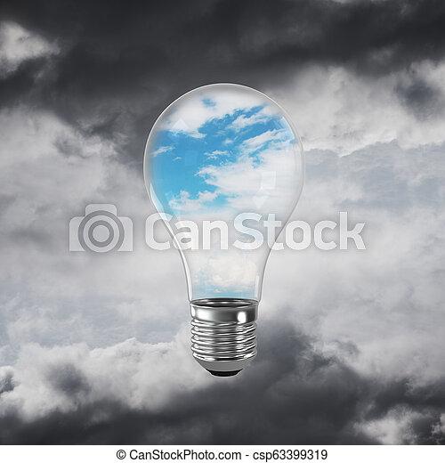 Eco innovaciones concepto por medio de bombilla. - csp63399319