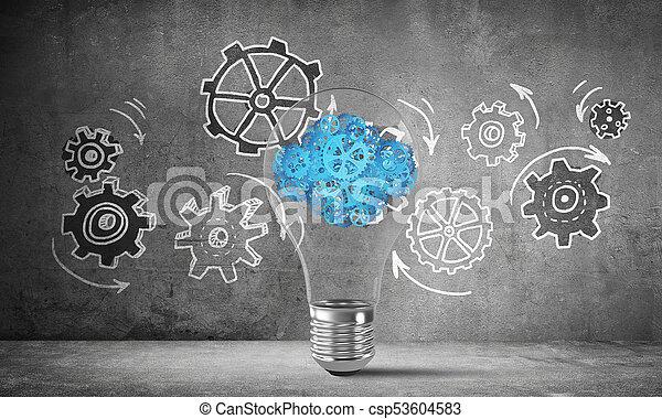 Eco innovaciones concepto por medio de bombilla. - csp53604583