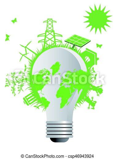 eco, luz, limpo, bulbo - csp46943924
