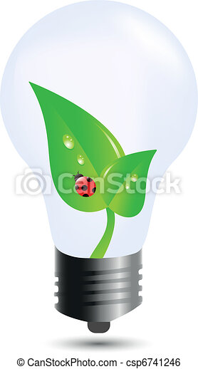 Bomba económica con hojas y mariquita - csp6741246