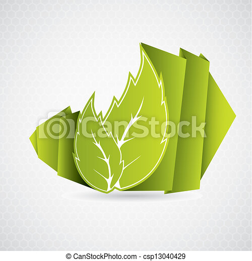 Eco Origami Leaf On Grayish Hexagon Background Vector Illustration