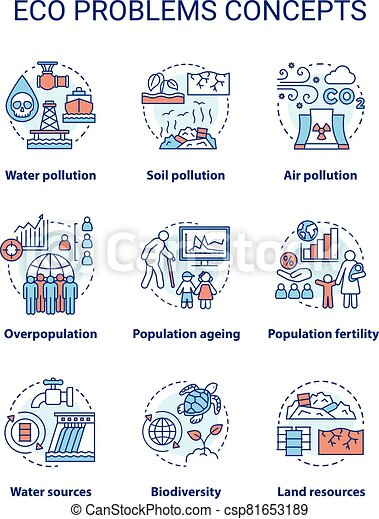 Eco problems concept icons set. Ecological disaster idea thin line illustrations. Pollution of water, soil & air. Overpopulation and biodiversity. Vector isolated outline drawings. Editable stroke - csp81653189