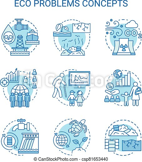 Eco problems concept icons set. Ecological disaster idea thin line illustrations. Pollution of water, soil & air. Overpopulation and biodiversity. Vector isolated outline drawings. Editable stroke - csp81653440
