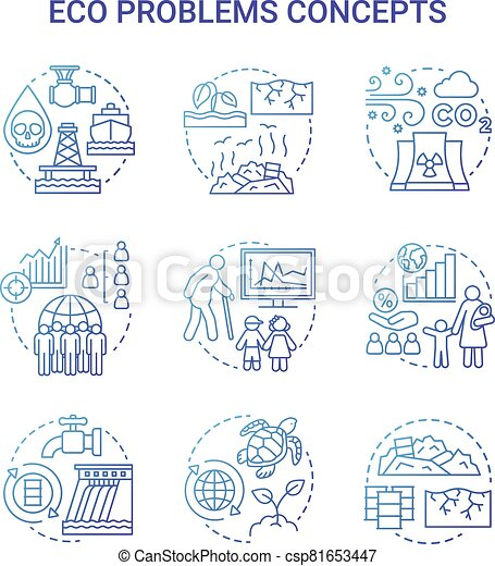 Eco problems concept icons set. Ecological disaster idea thin line illustrations in blue. Pollution of water, soil & air. Overpopulation and biodiversity. Vector isolated outline drawings - csp81653447