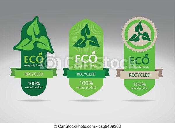 eco, reciclar, etiquetas - csp9409308