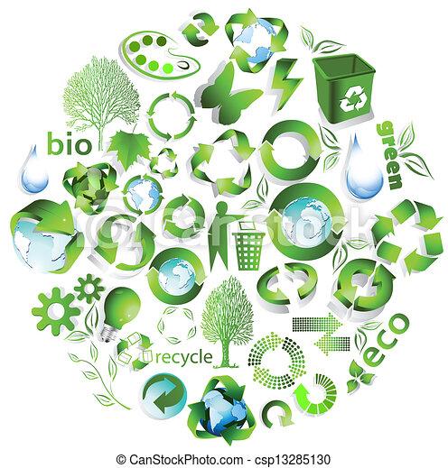 eco, reciclar, fin, símbolos - csp13285130