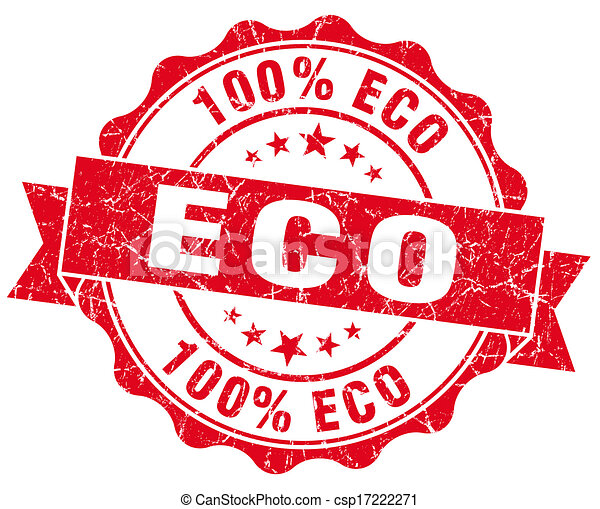 eco red vintage seal isolated on white - csp17222271