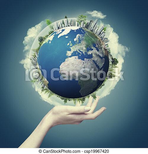 Nuestro mundo en nuestras manos, ambientes ecológicos abstractos para tu diseño - csp19967420