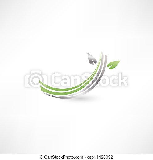 Simbolos económicos con hojas - csp11420032