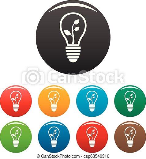 Eco save bulb icons set color - csp63540310