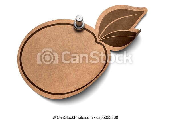 eco sticker fixed by a pushpin over a white background - csp5033380