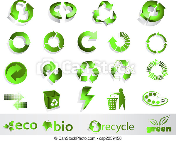Eco Symbols Eco Bio Green And Recycle Symbols