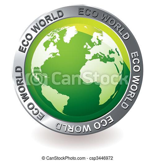 eco, uzemněný koule, nezkušený, ikona - csp3446972