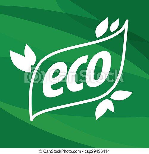 eco vector logo on a green background - csp29436414