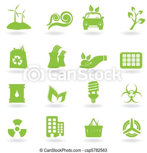 iconos ecológicos y verdes - csp5782563
