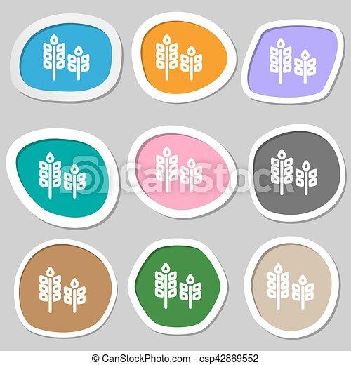 Eco with green leaf icon symbols. Multicolored paper stickers. Vector - csp42869552
