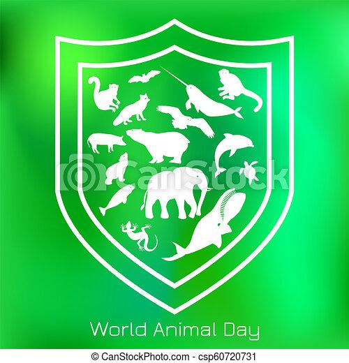 Día de los animales. 4 october. Concepto unas vacaciones ecológicas. Siluetas de animales dentro del escudo - csp60720731