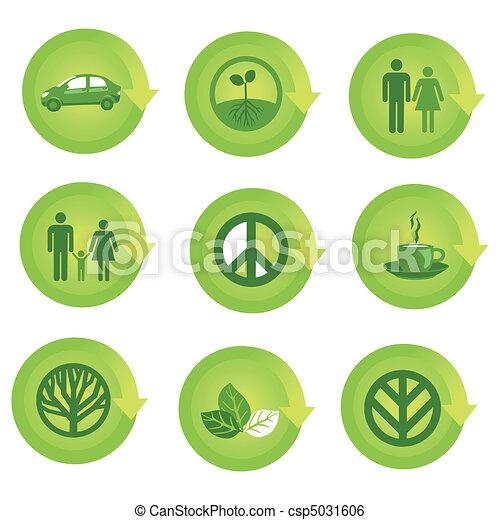 ecológico, jogo, ícone seta - csp5031606