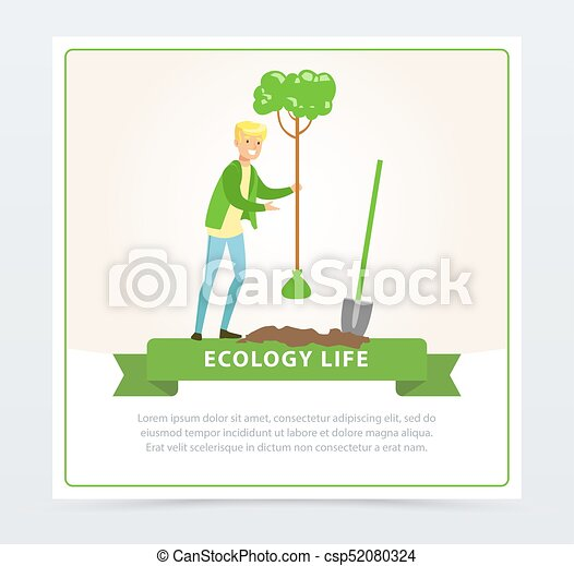 Ecol life concept with man character planting a tree - csp52080324