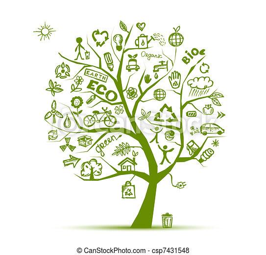 ecología, árbol, concepto, verde, diseño, su - csp7431548