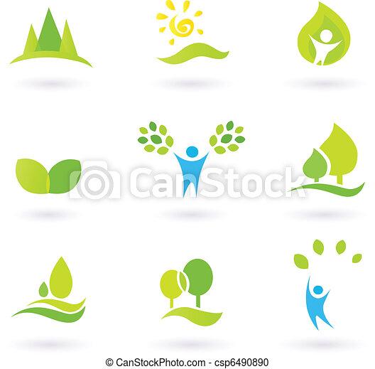 ecología, hojas, vector, árbol, conjunto, (blue, green), icono - csp6490890