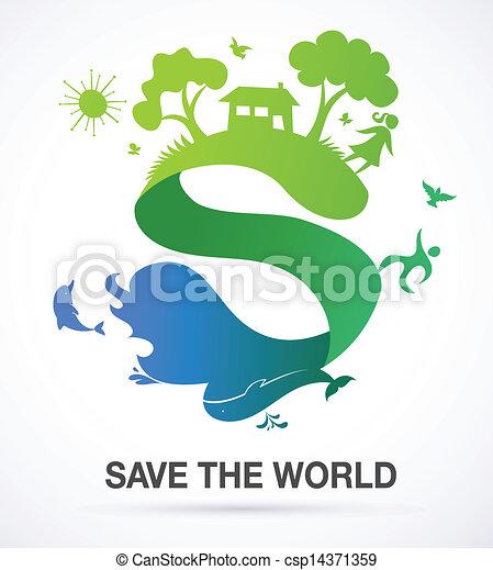 ecología, naturaleza, -, s, plano de fondo, mundo, excepto, icono - csp14371359