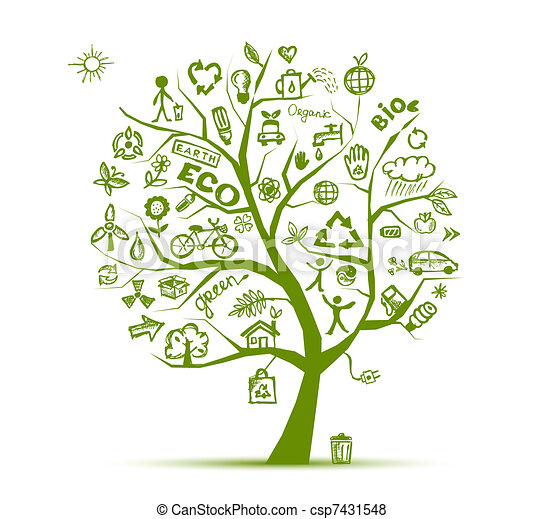 ecologia, árvore, conceito, verde, desenho, seu - csp7431548