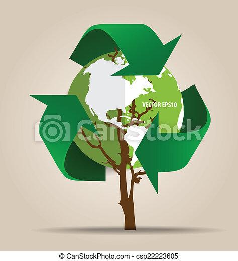 ecologia, concept., albero, simbolo, vettore, riciclare, verde, pensare - csp22223605