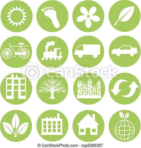 ecologia, verde, icone - csp5266387