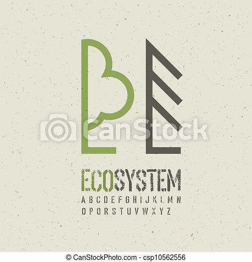 Ecological emblem template. Vector illustration, EPS10 - csp10562556