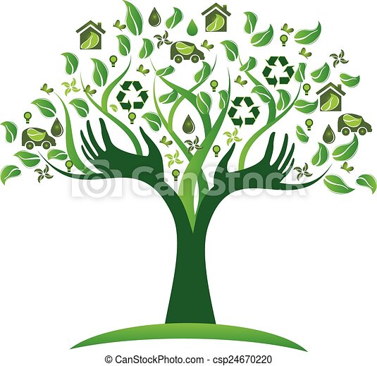 Ecological green tree hands logo - csp24670220