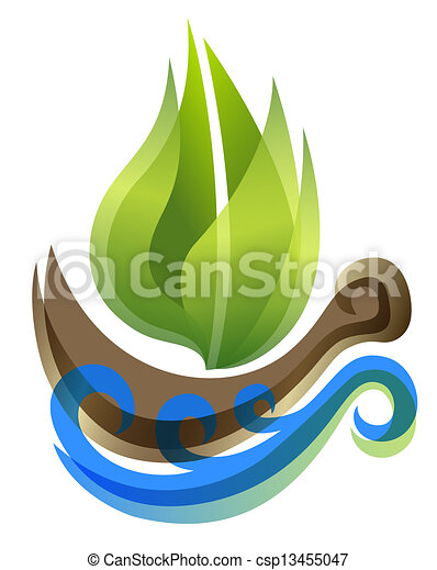 ecological icon in thie form of the ship  - csp13455047