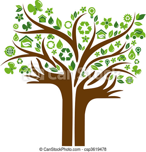 Ecological icons tree with two hands - csp3619478