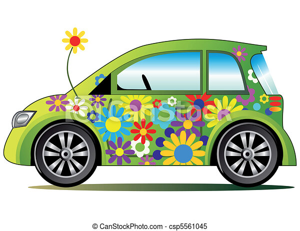 Ecological illustration with car - csp5561045