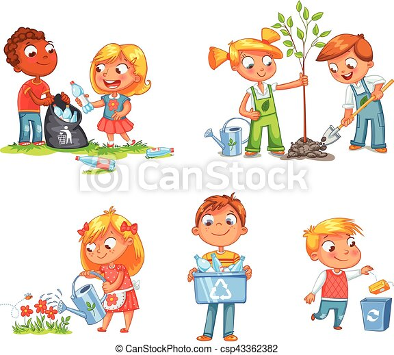 Ecological kids design. Funny cartoon character - csp43362382
