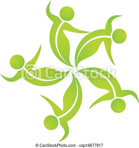 Ecological leafs team logo - csp16677917