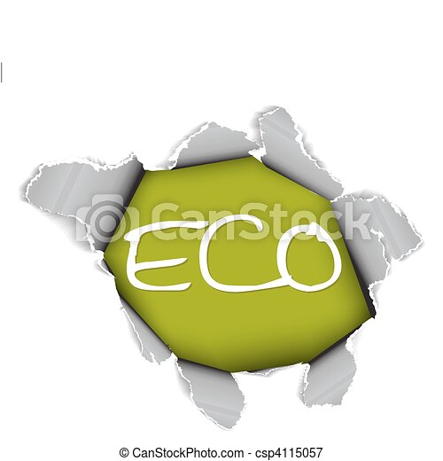 Ecological, organic item - Hole in the sheet of paper - csp4115057
