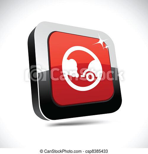 Ecology 3d square button. - csp8385433