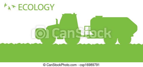 Ecology background organic farming vector concept with tractor fertilizer for poster - csp16989791