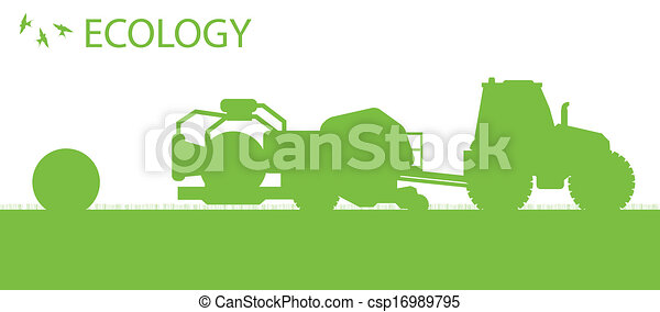 Ecology background organic farming vector concept with tractor making hay bales for poster - csp16989795