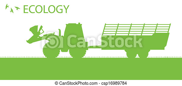 Ecology background organic farming vector concept with tractor - csp16989784