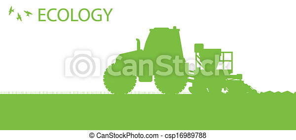 Ecology background organic farming vector concept with tractor and seeder planting crops on a field for poster - csp16989788
