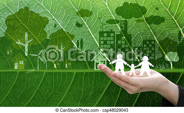 Ecology concept design of business woman hand holding white paper family symbol on fresh green leaf texture background - csp48029043