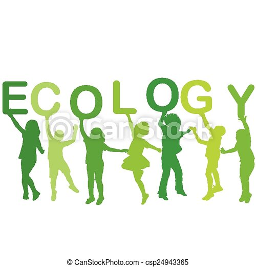 Ecology concept with children silhouettes, - csp24943365