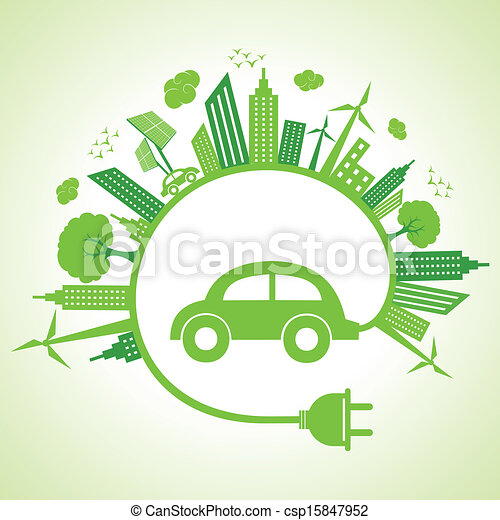 Ecology concept with eco car - csp15847952