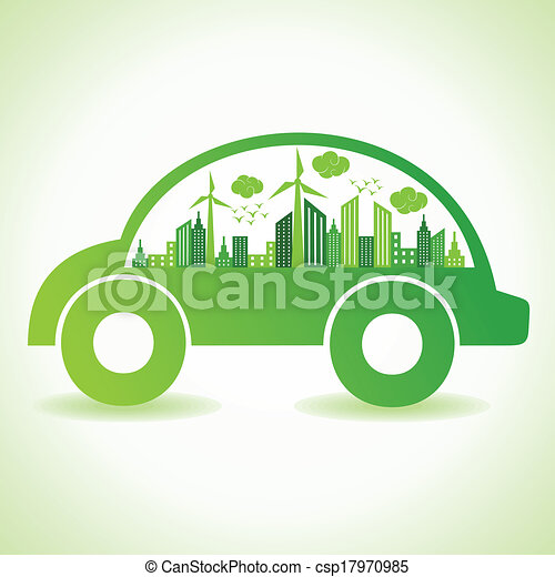 Ecology concept with eco car - csp17970985